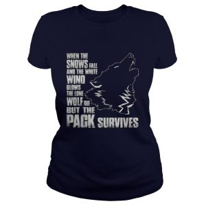 Wolf when the snows fall and the white wind blow Ladies Tee
