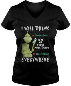 Grinch I will drink Heineken here or there or everywhere Vneck