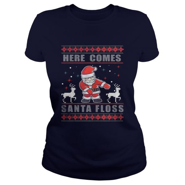 Here Comes Santa Floss Christmas Ladies Tee