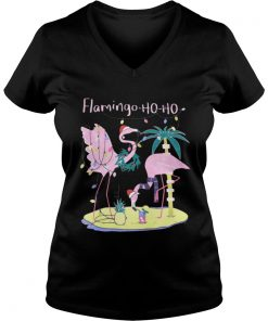 Flamingo ho ho Christmas Vneck