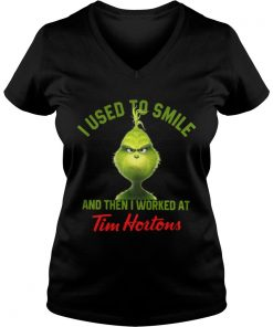 Grinch I used to smile and then I worked at Tim Hortons Vneck
