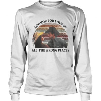 cc9570eb0 ... Urban Cowboy lookin for love in all the wrong places retro Longsleeve  Tee