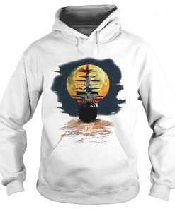 America skull full moon night and the ship Hoodie