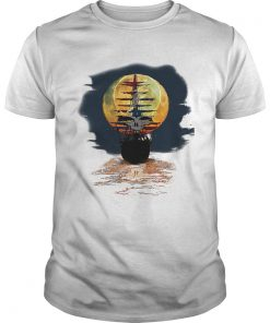 America skull full moon night and the ship Unisex Shirt