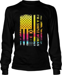 Im A Simple Woman Loves Dog Wine And Flip Flop Longsleeve Tee