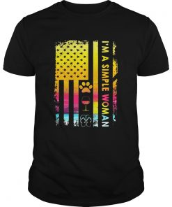 Im A Simple Woman Loves Dog Wine And Flip Flop Unisex shirt