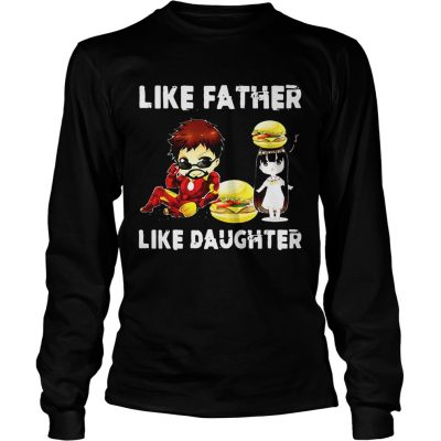 24351db01 ... Iron man and daughter hamburger like father like daughter Avengers  Endgame Longsleeve Tee