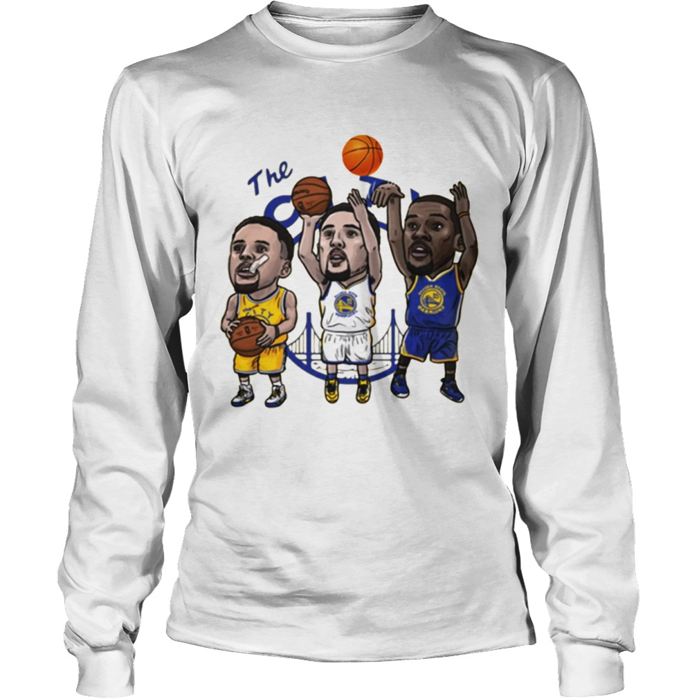 brand new 54598 6db91 Klay Thompson Steph Curry Kevin Durant Cartoon Golden state shirt