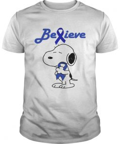 Snoopy Believe Cancer Colon Dark Blue Awareness TShirt