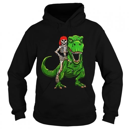Funny Pirate Skeleton On T Rex Dinosaur Halloween Costume Gifts  Hoodie
