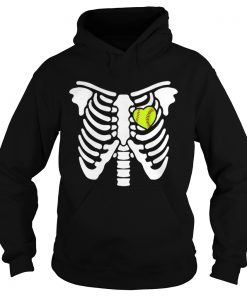 Halloween Softball Softball Heart In Ribcage  Hoodie