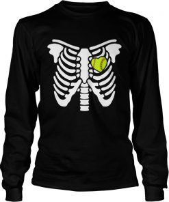 Halloween Softball Softball Heart In Ribcage  LongSleeve