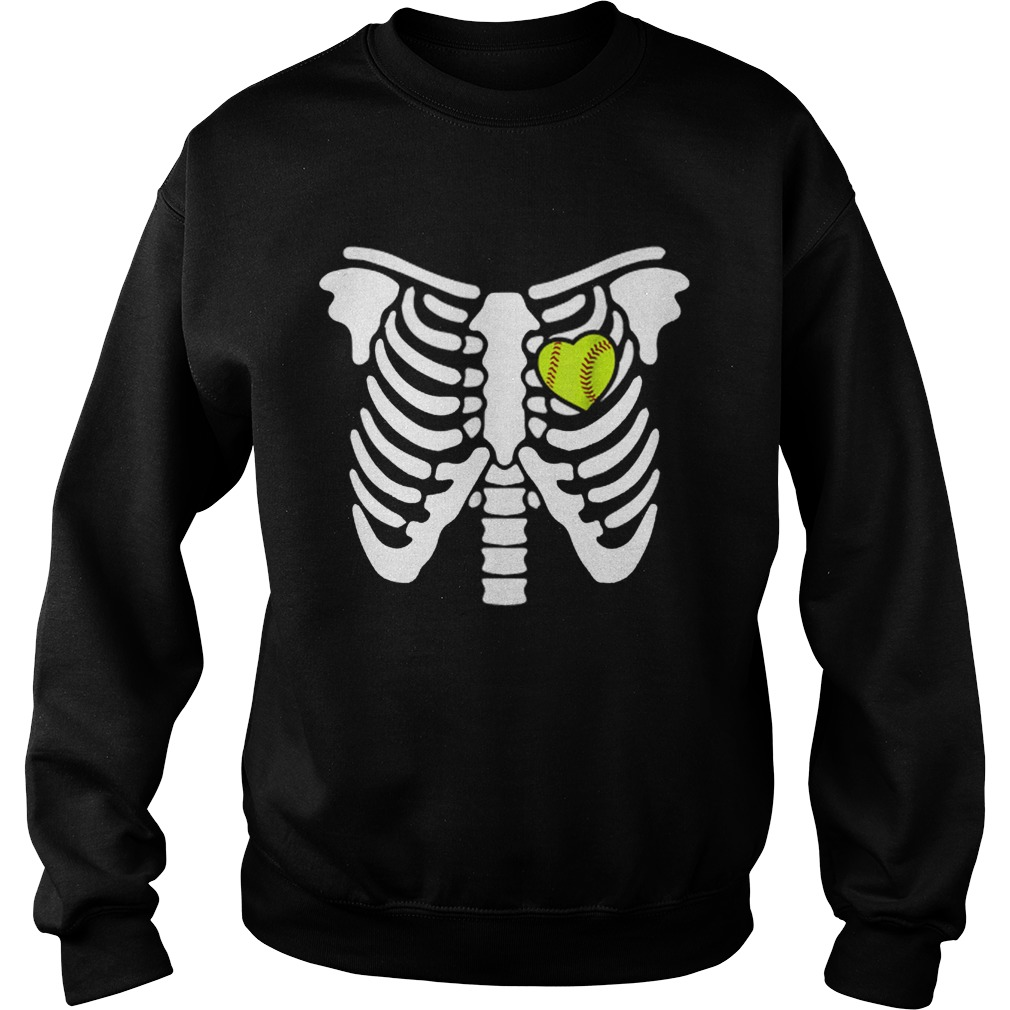 Halloween Softball Softball Heart In Ribcage Sweatshirt