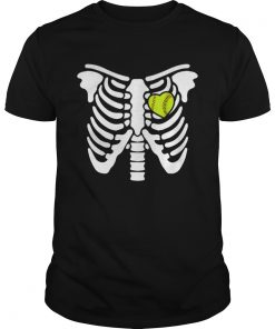 Halloween Softball Softball Heart In Ribcage  Unisex