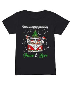 Have a happy pawlidays peace and love girl hippie and Dogs Christmas  Classic Women's T-shirt