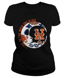 New York Mets I love to the moon and black  Classic Ladies