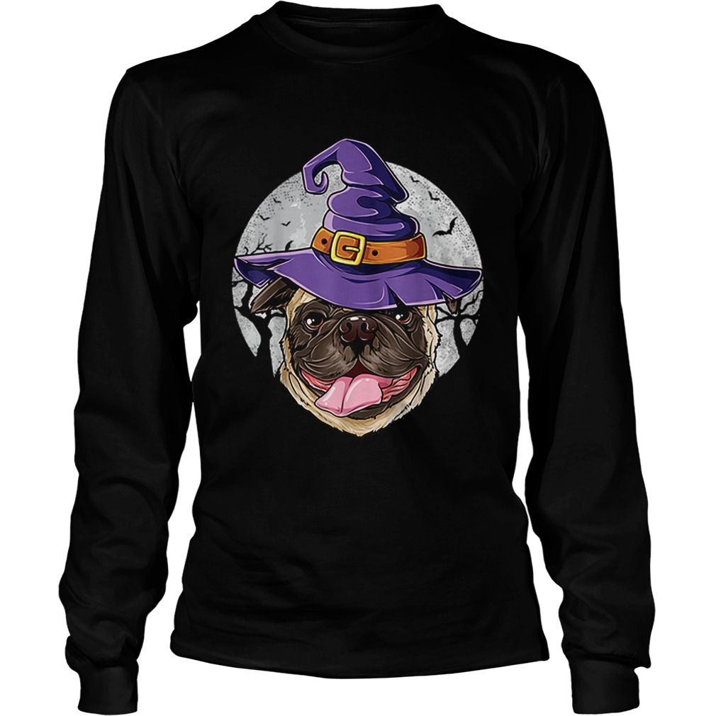 Pug Witch Hat Funny Halloween Gifts Dog LongSleeve