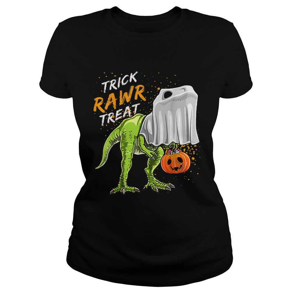 Trick Rawr Treat Halloween T Rex Dinosaur Ghost Boys Classic Ladies