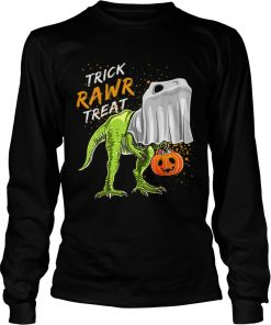Trick Rawr Treat Halloween T Rex Dinosaur Ghost Boys  LongSleeve