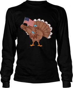 Awesome Dabbing Turkey America Flag Thanksgiving American Family  LongSleeve