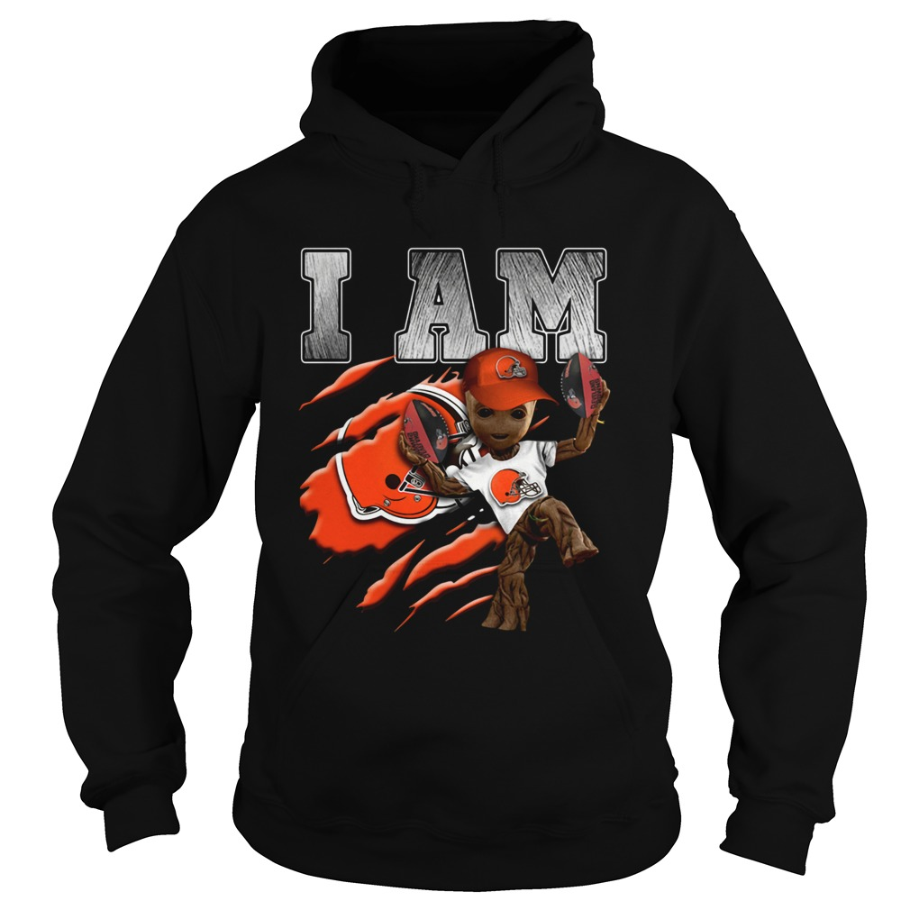 Baby Groot I Am Cleveland Browns Hoodie