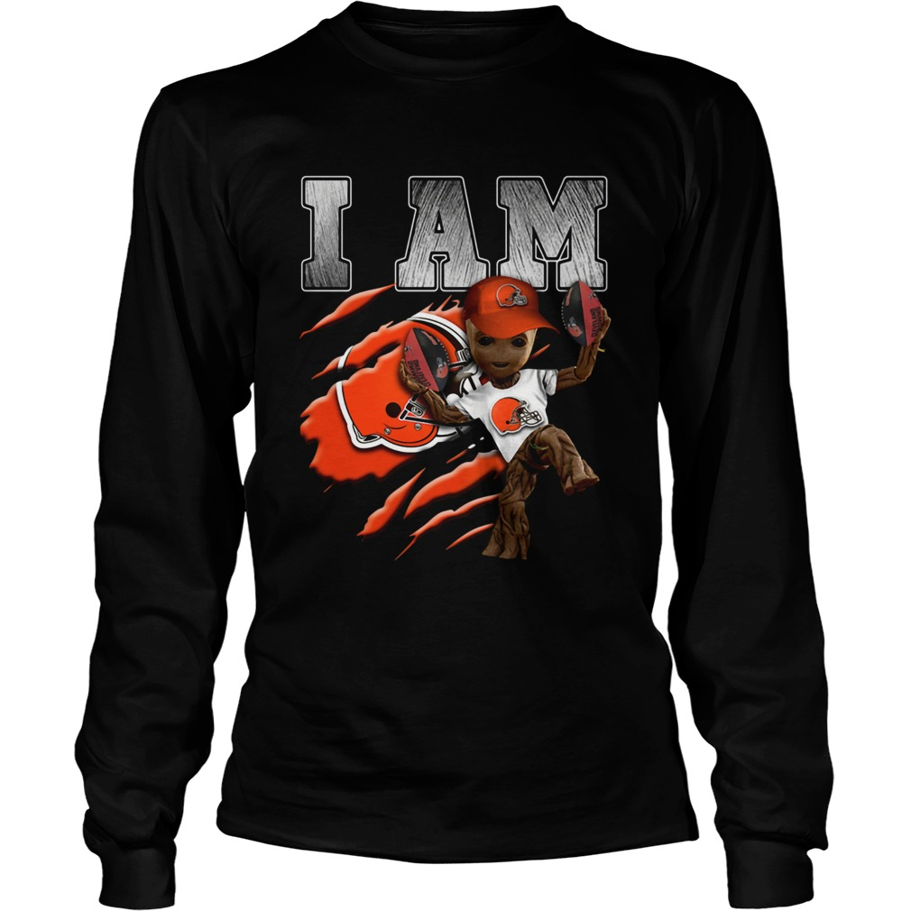 Baby Groot I Am Cleveland Browns LongSleeve