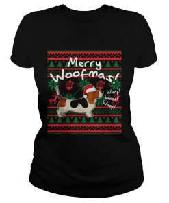 Basset Hound Dog Merry Woofmas Christmas Santa Dog  Classic Ladies