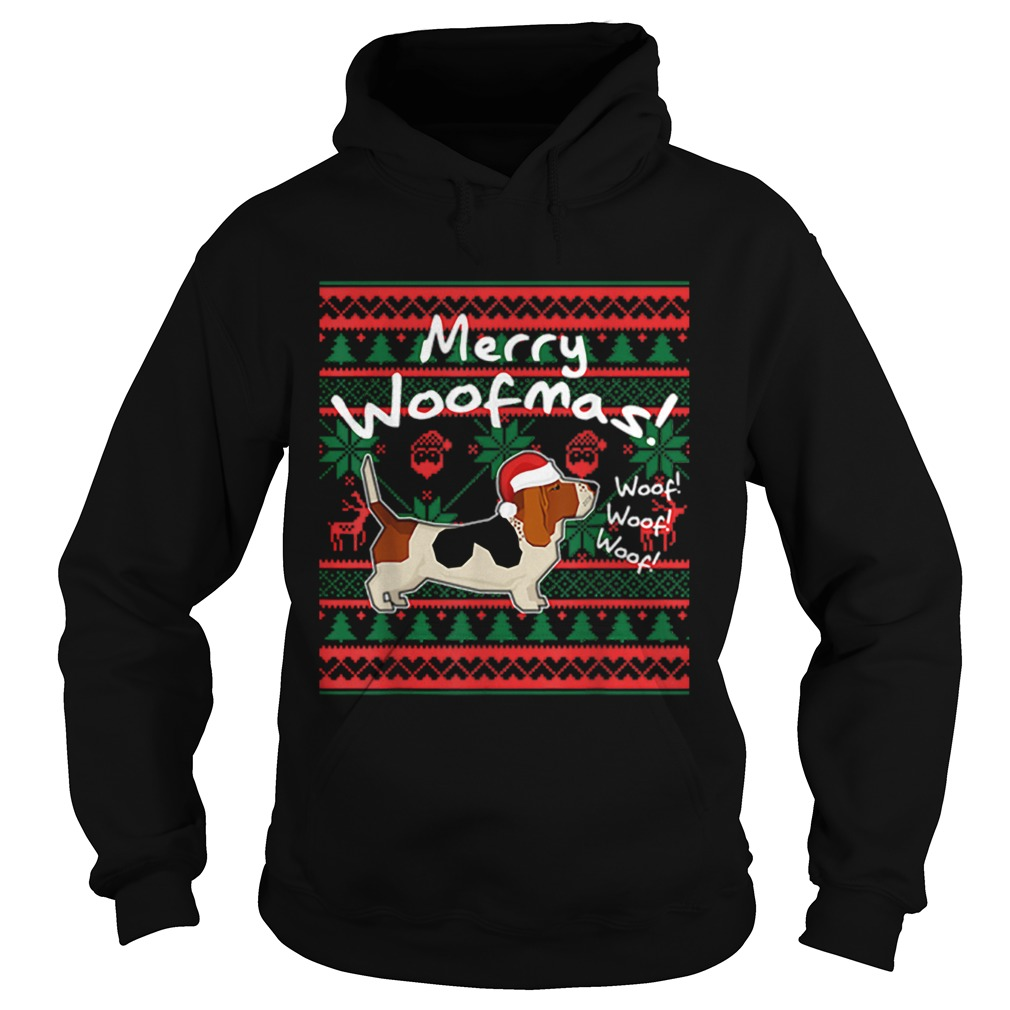 Basset Hound Dog Merry Woofmas Christmas Santa Dog Hoodie