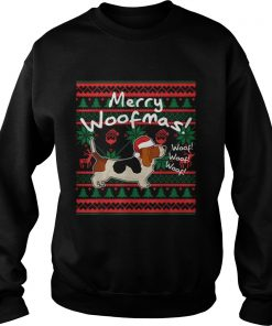 Basset Hound Dog Merry Woofmas Christmas Santa Dog  Sweatshirt