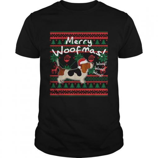 Basset Hound Dog Merry Woofmas Christmas Santa Dog  Unisex
