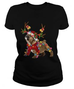 Bulldog Gorgeous Reindeer Crewneck Christmas  Classic Ladies