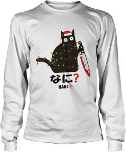 Black Cat Santa Knife Nani Christmas  LongSleeve