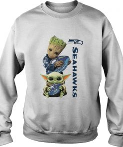 Baby Groot And Baby Yoda Hug Seahawks  Sweatshirt