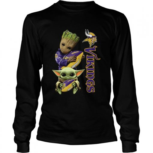 Baby Groot And Yoda Hug Minnesota Vikings  LongSleeve