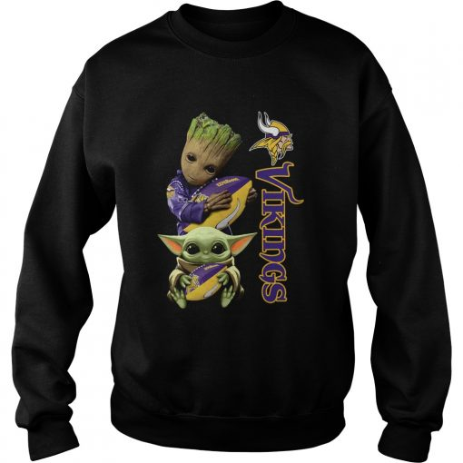 Baby Groot And Yoda Hug Minnesota Vikings  Sweatshirt