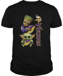 Baby Groot And Yoda Hug Minnesota Vikings  Unisex