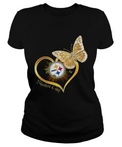 Heart Butterfly And Pittsburgh Steelers Girl  Classic Ladies