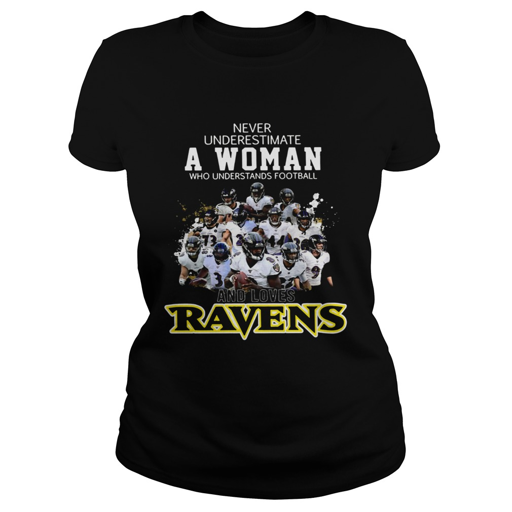 Never underestimate a woman who understands football Ravens Classic Ladies
