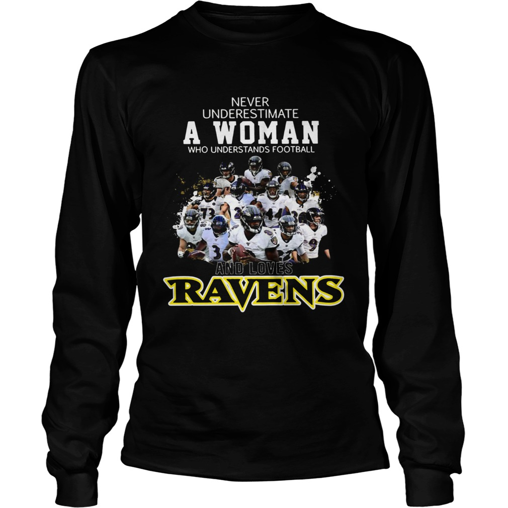 Never underestimate a woman who understands football Ravens LongSleeve