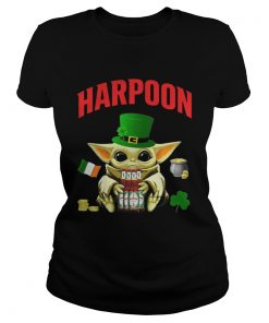 St Patricks Day Baby Yoda Hugging Celtic Ale Beer Harpoon  Classic Ladies