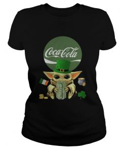 St Patricks Day Baby Yoda Hugging Coca Cola Green  Classic Ladies