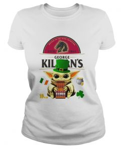 St Patricks Day Baby Yoda Hugging Irish Red Beer George Killians  Classic Ladies