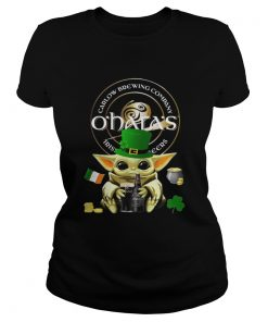 St Patricks Day Baby Yoda Hugging Oharas Irish Stout Beer  Classic Ladies