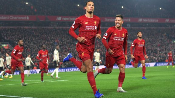 Liverpool beat Man United with Van Dijk Salah goals to open up 16-point lead at top