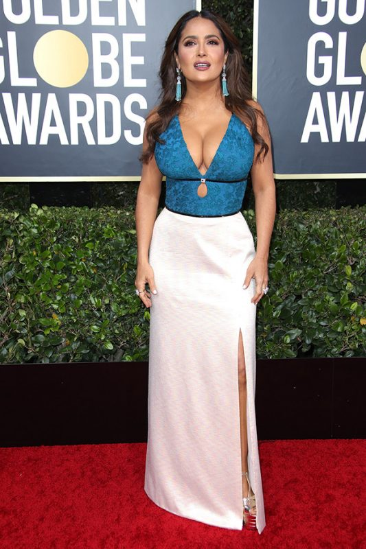 Salma Hayek Sizzles In Blue & White GucciDress At Golden Globes