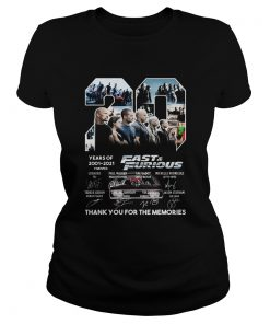 20 years of 2001 2021 9 movies fast and furious thank you for the memories signatures  Classic Ladies