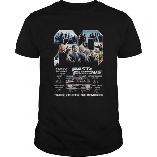 20 years of 2001 2021 9 movies fast and furious thank you for the memories signatures  Unisex