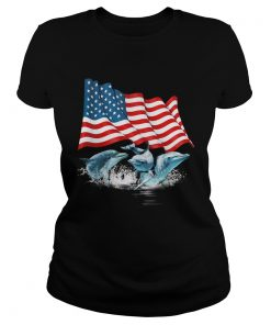Dolphins american flag independence day  Classic Ladies