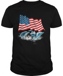 Dolphins american flag independence day  Unisex