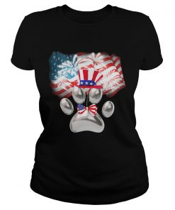 Paw American flag veteran Independence Day  Classic Ladies